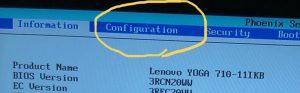 Configuration lenovoYOGA710